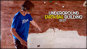 Underground Earth Bag Construction  Episode 27  Painting The Walls           Unique Paint Job Done With Stain!