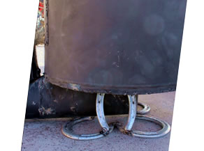 Rocket Stove Homemade Horseshoe Stand - welded together