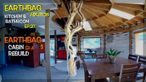 Center Tree Log Post U0026 Cabin Walls | Earthbag Kitchen U0026 Bath Ep27| Cabin Ep4