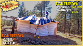 Roofing Shingles, Tar Paper & Sheetrock | Earthbag Kitchen & Bath Ep33| Cabin Ep10