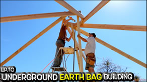 Underground Earth Bag Construction Episode 10  Reciprocal Roof Frame for the Mus-Art Studio | Building a Circular Roofing Frame